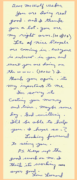 <Copy of hand-written letter by Leonard Knight addressed to Wolf Weber>