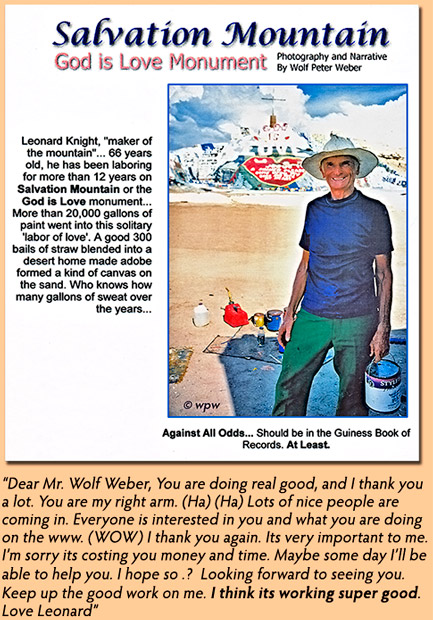 <1997 picture and text by Wolf P. Weber of and about Leonard Knightat the age of 66>